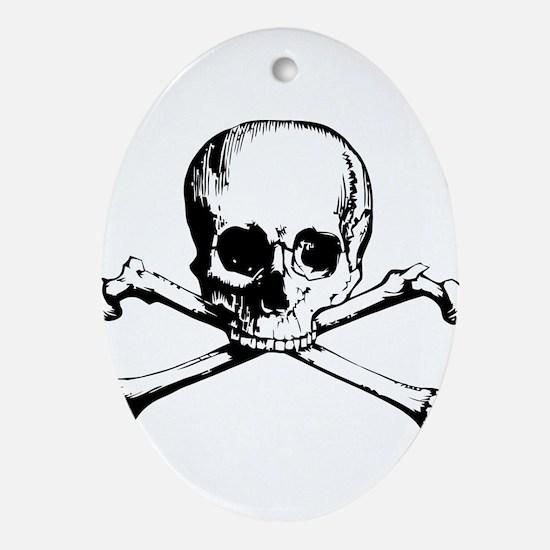 Classic Skull And Crossbones Ornament (Oval)