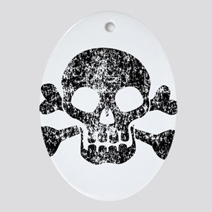 Worn Skull And Crossbones Ornament (Oval)