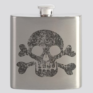 Worn Skull And Crossbones Flask