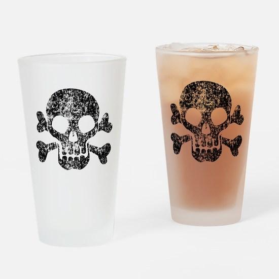 Worn Skull And Crossbones Drinking Glass