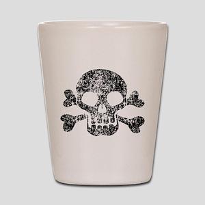 Worn Skull And Crossbones Shot Glass