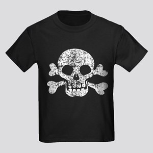Worn Skull And Crossbones Kids Dark T-Shirt