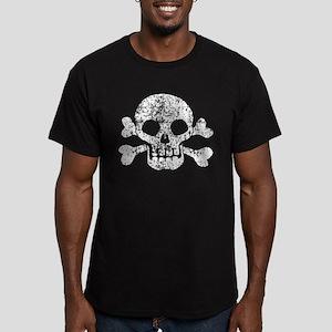 Worn Skull And Crossbones Men's Fitted T-Shirt (da