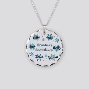 Custom kids snowflakes Necklace Circle Charm