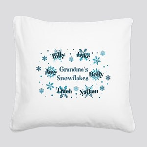 Custom kids snowflakes Square Canvas Pillow