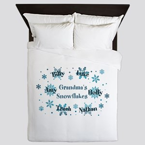 Custom kids snowflakes Queen Duvet