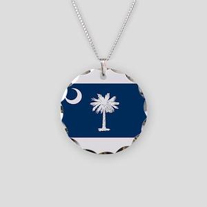 South Carolina State Flag Necklace Circle Charm