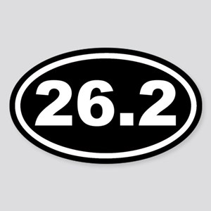 26.2 Marathon Running Black Euro Oval Sticker