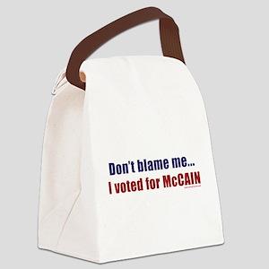 dontblameme_mccain_redblue Canvas Lunch Bag