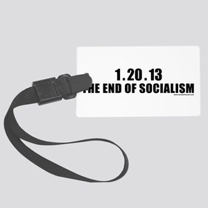 endofsocial_white Large Luggage Tag