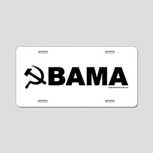 obamarussian_whiteblack Aluminum License Plate