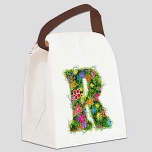 R Floral Canvas Lunch Bag