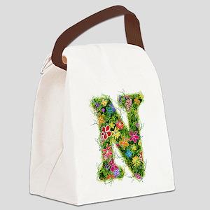 N Floral Canvas Lunch Bag