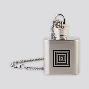Black and White Squares Flask Necklace