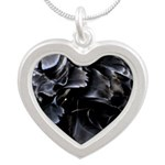 Ball of Feathers Version 1 Silver Heart Necklace