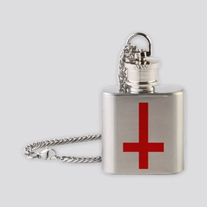 Red Inverted Cross Flask Necklace