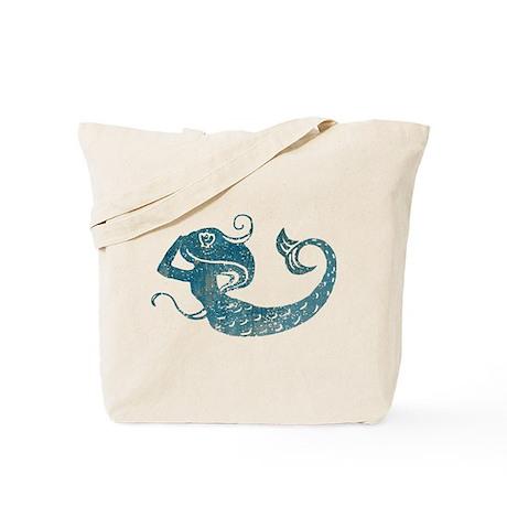Worn Mermaid Graphic Tote Bag