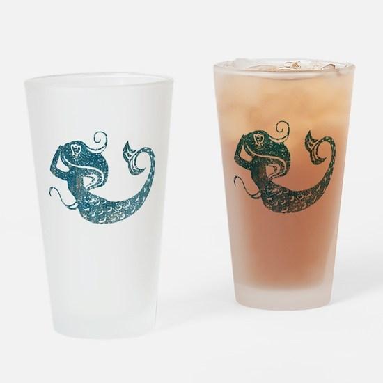 Worn Mermaid Graphic Drinking Glass
