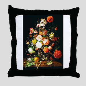 Rachel Ruysh Flower Bouquet Throw Pillow