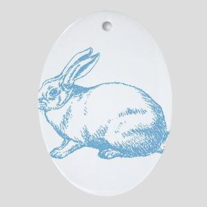 White Rabbit Ornament (Oval)