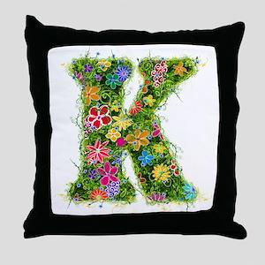 K Floral Throw Pillow