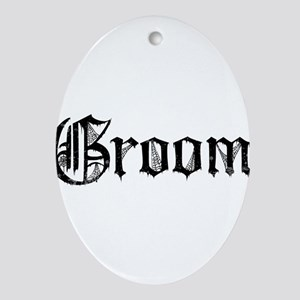Gothic Text Groom Ornament (Oval)