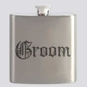 Gothic Text Groom Flask