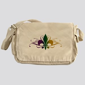 Purple Green Gold Fleur De Lis Messenger Bag