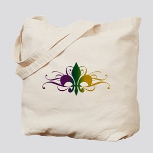 Purple Green Gold Fleur De Lis Tote Bag