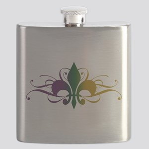 Purple Green Gold Fleur De Lis Flask