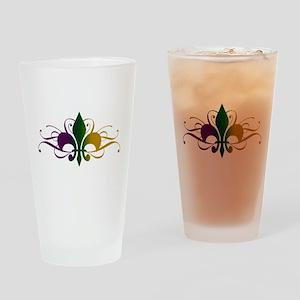 Purple Green Gold Fleur De Lis Drinking Glass