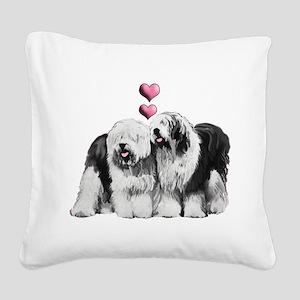Ole English Sheepdog Pair Square Canvas Pillow
