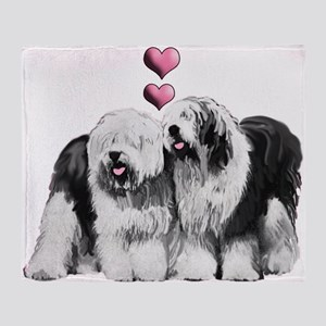 Ole English Sheepdog Pair Throw Blanket