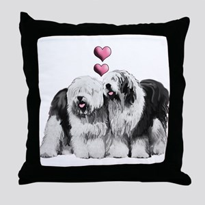 Ole English Sheepdog Pair Throw Pillow
