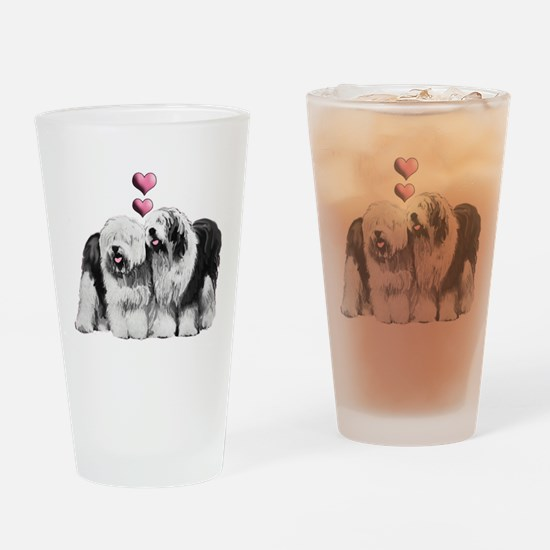 Ole English Sheepdog Pair Drinking Glass