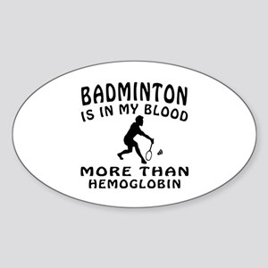 Badminton Designs Sticker (Oval)