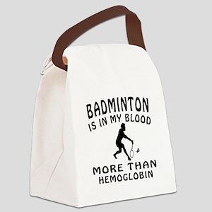 Badminton Designs Canvas Lunch Bag