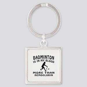 Badminton Designs Square Keychain