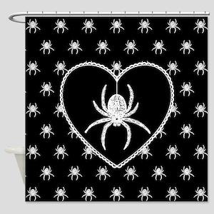 Gothic Spider Heart Shower Curtain