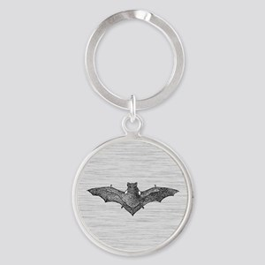 Gothic Bat Round Keychain