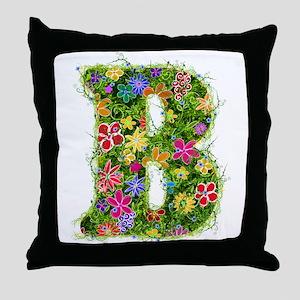 B Floral Throw Pillow
