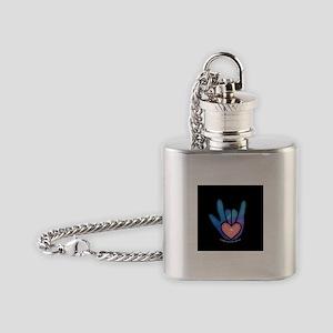 Blue/Pink Glass ILY Hand Black Flask Necklace