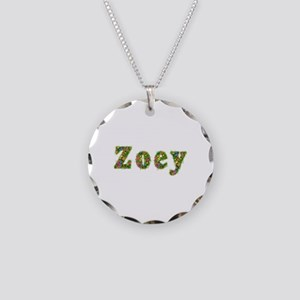 Zoey Floral Necklace Circle Charm