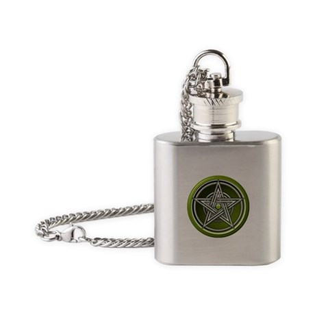 Green Pentacle w/inlay Flask Necklace