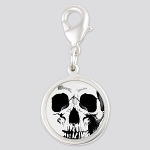 Skull Face Silver Round Charm