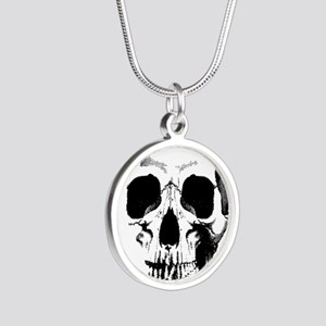Skull Face Silver Round Necklace