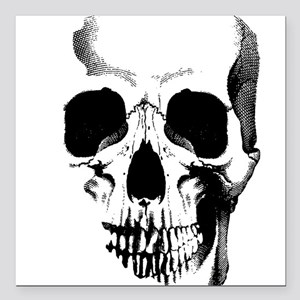 "Skull Face Square Car Magnet 3"" x 3"""