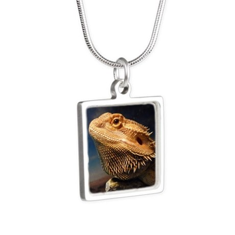 .young bearded dragon. Silver Square Necklace