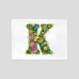 K Floral 5'x7' Area Rug
