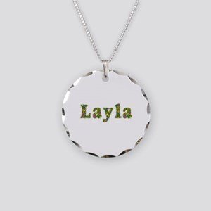 Layla Floral Necklace Circle Charm